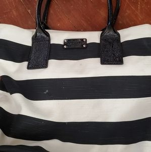 Kate spade black and white striped tote purse